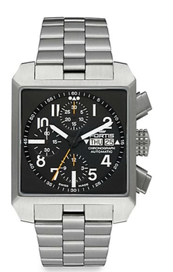 Fortis - Square Stainless Steel Chronograph Dial Watch