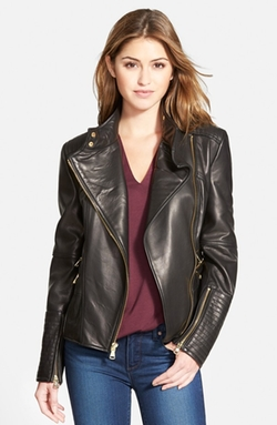 Vince Camuto - Asymmetrical Leather Moto Jacket