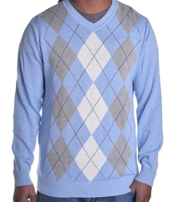 Club Room - Argyle V Neck Sweater