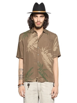 Diesel  - Leaf Printed Viscose Flannel Shirt