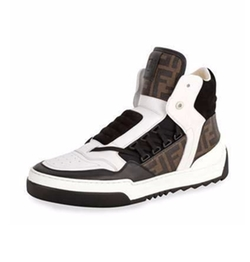 Fendi - Tank Zucca-Print Leather High-Top Sneakers