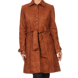Bubble B - Faux Suede Button Down Trenchcoat