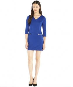 Hayden  - Stretch Knit Exposed Zip Pocket V-Neck Dress
