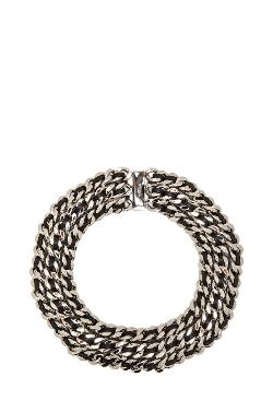 Saint Laurent  - Gourmette Choker In Palladium & Black
