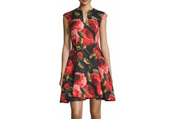 Naeem Khan - Cap-Sleeve Floral-Print Cocktail Dress