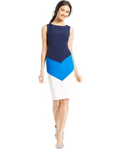 Nine West - Petite Sleeveless Colorblock Sheath