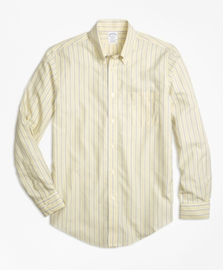 Brooks Brothers - Non-Iron Regent Fit Yellow Stripe Sport Shirt