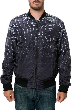 Reason - High Collar Printed Bomber Jacket