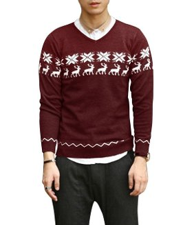 Uxcell - Deer Snowflake Zigzag Pattern Sweater