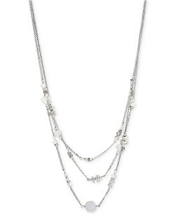 Kenneth Cole New York - Silver-Tone Geometric Bead Illusion Necklace