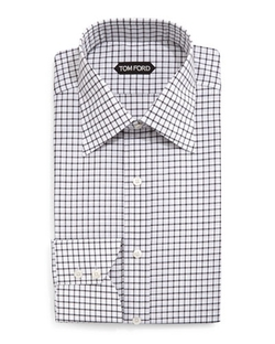 Tom Ford - Windowpane-Pattern Silk Dress Shirt
