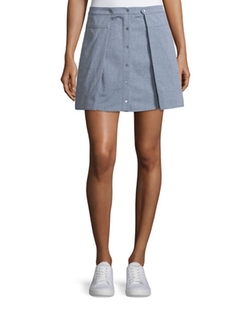 T by Alexander Wang - Oxford Cotton Pleated Mini Skirt