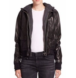 R13 - Layered Jersey-Hood Leather Bomber Jacket