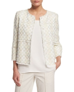 Lafayette 148 New York  - Dani Tempered Tweed Snap-Front Jacket