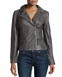 Marc New York by Andrew Marc  - Tumbled Leather Moto Jacket, Anthracite