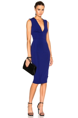 Victoria Beckham  - Dense Rib Deep V Neck Fitted Dress