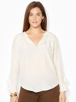 Lauren Woman - Silk Ruffled-Cuff Blouse
