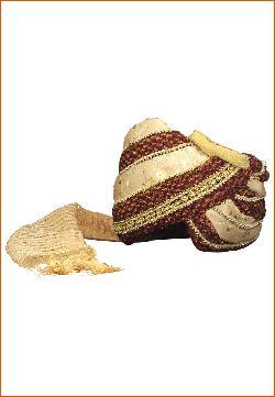 utsavfashion - Maroon and Beige Shimmer Net and Art Silk Turban