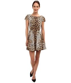 Red Valentino  - Leopard Print Cap Sleeve Taffeta Dress