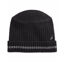 Nautica - Striped Flat-Top Ribbed Beanie Hat