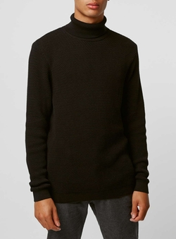 Topman - Black Waffle Turtle Neck Sweater