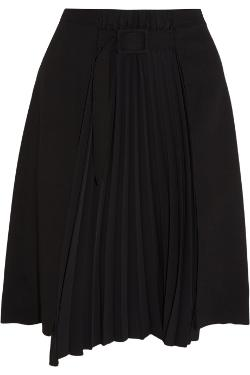 MAISON MARTIN MARGIELA  - Wool-blend and pleated matte satin skirt