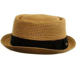 SK Hat shop - Straw Pork Pie Derby Fedora Brim Hat