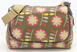 OiOi  - Messenger Diaper Bag - Olive Retro Floral