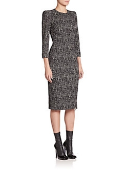 Alexander McQueen  - Zip-Detail Tweed Dress