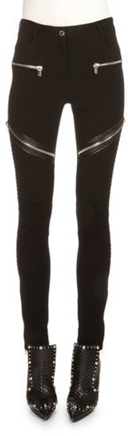 Givenchy - Asymmetric Zip-Detail Moto Leggings