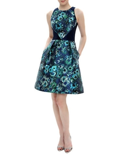 Theia  - Floral Print Solid-Inset A-Line Dress