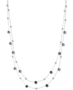 Nine West  - Mixed Bead Crystal Two-Row Illusion Necklace