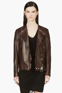 GIVENCHY - DEEP BROWN LEATHER RIBBED & REINFORCED BIKER JACKET