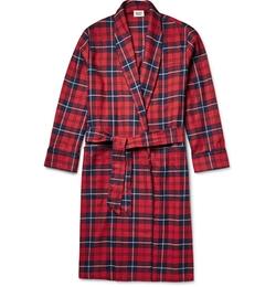 Sleepy Jones  - Checked Cotton-Flannel Robe