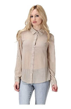 2 Luv - Long Sleeve Button Down Blouse