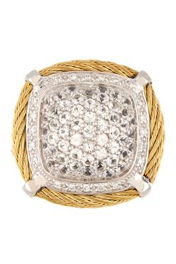 Charriol  - Classique Pave White Sapphire & Diamond Square Cocktail Ring