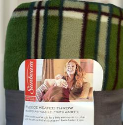 Sunbeam - Electric Warming Fleece Heated Throw Green Red Plaid
