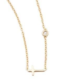 SHY by Sydney Evan  - Cross & Single Diamond Necklace