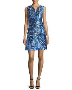 Milly - Sleeveless Split-Neck Printed Dress