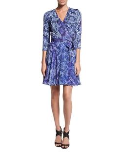 Diane Von Furstenberg - Irina Python-Print Combo Wrap Dress