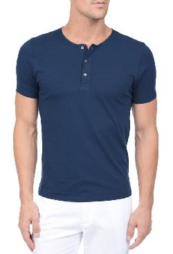 THE COMMUTE  - S/S HENLEY - FULL MOON BLUE