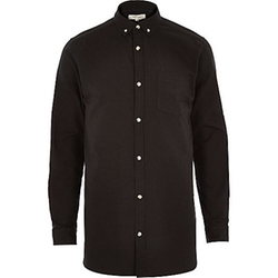 River Island - Black Longer Length Oxford Shirt