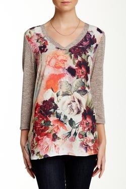 Bobeau  - Chiffon Floral Print Knit Shirt