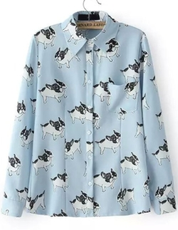 Sheinside - Lapel Long Sleeve Dogs Print Blouse