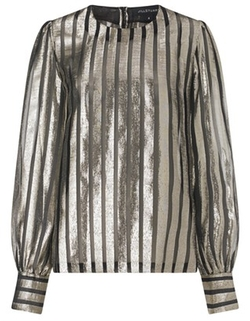 Jill Stuart - Gold Striped Silk Esmee Top