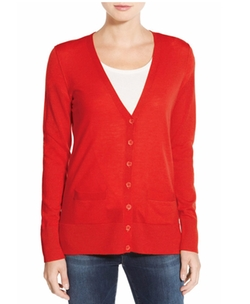 Halogen - V-Neck Lightweight Merino Cardigan