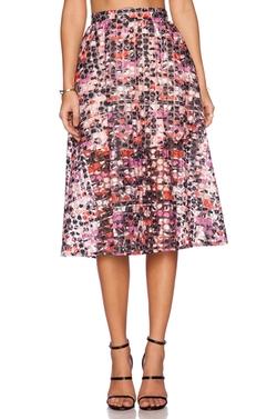 Sam Edelman  - Tripe Floral Midi Skirt