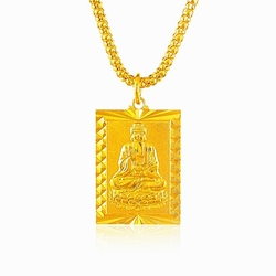 Lihong Fashion  - Plated Buddha Square Pendant Necklace