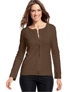 Karen Scott  - Long-Sleeve Button-Front Cardigan