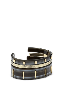 Vince Camuto  - Gold Metal & Black Resin Three-Piece Cuff Bracelet